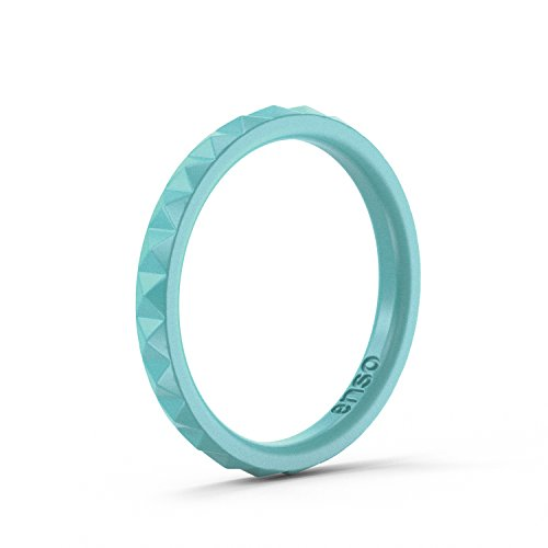 Enso Womens Stackable Silicone Rings Turquoise. Size: 7 (All Rubber Purpose Silicone)
