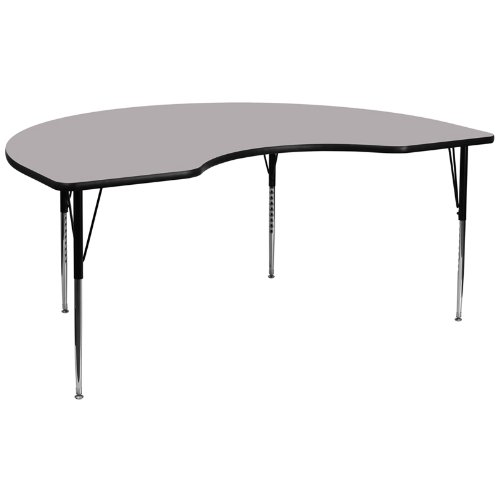 Flash Furniture 48''W x 96''L Kidney Grey Thermal Laminate Activity Table - Standard Height Adjustable (Childrens Kidney Shaped Activity Table)
