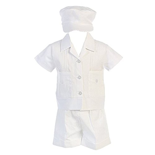 Lito Boys Poly Cotton Pintuck Shirt and Shorts Christening Baptism Outfit (3-6 mo)