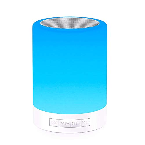 Elecstars Touch Bedside Lamp - with Bluetooth Speaker, Dimmable Color Night Light, Outdoor Table Lamp with Smart Touch Control, Best Gift for Men Women Teens Kids Children Sleeping Aid -