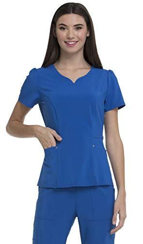 HeartSoul Love Always Women's V-Neck Solid Scrub Top Small Royal ()
