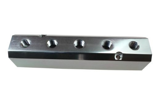 Coilhose Pneumatics 3054 High Flow Manifold, 1/2-Inch FPT Supply Port, Five 1/4-Inch FPT Output Ports