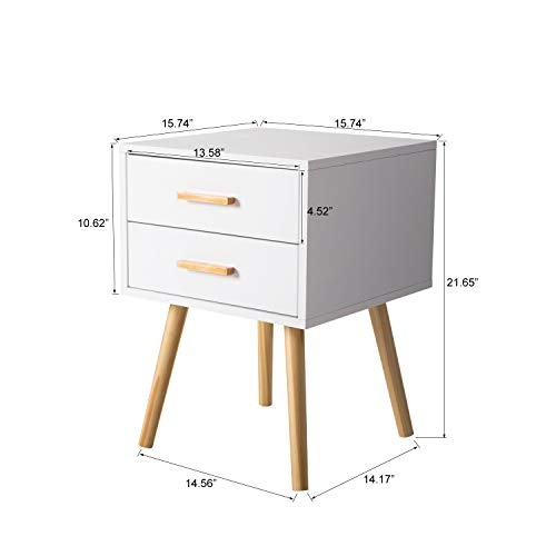 Peach Tree Side End Table Nightstand with 2 Drawers Storage Mid-Century Accent Wood Furniture, White/Wooden by Peachtree Press Inc (Image #3)