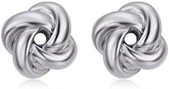 Redbarry Korean Style Love-knot Shaped Austria Crystal Twist Gold Plated Stud Earrings ( 2 Tones )