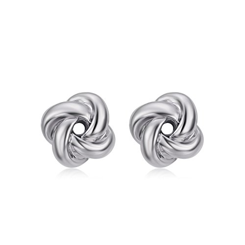 DIFINES Redbarry 18k Platinum Plated Korean Style Love-knot Shaped Twist Post Stud Earrings for Birthday, Valentine's Day, -
