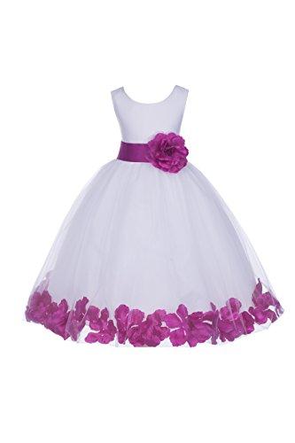 ekidsbridal White Floral Rose Petals Flower Girl Dress Birthday Girl Dress Junior Flower Girl Dresses 302s 16 ()