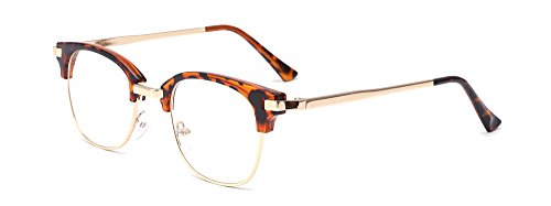 ALWAYSUV Vintage Round Metal Optical Eyewear Non-prescription Eyeglasses Half Frame for Women/Men Leopard -