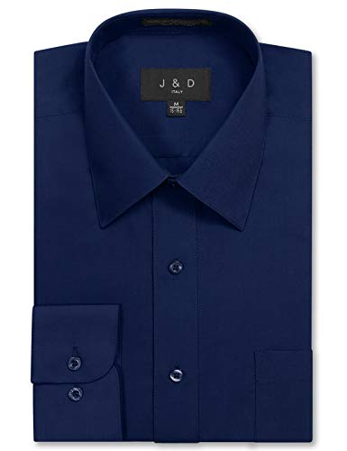 (JD Apparel Men's Long Sleeve Regular Fit Solid Dress Shirt 17-17.5 N 34-35 S Navy,X-Large)