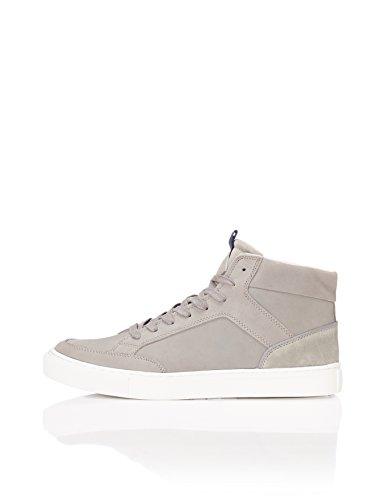 a Collo Grey Sneaker Alto in Uomo FIND Grigio Pelle nzxawqfA4