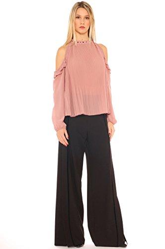 Donna Rosa Plissè Spalle Key Pallido Scoperte In Camicia di Georgette fqxE6FHw
