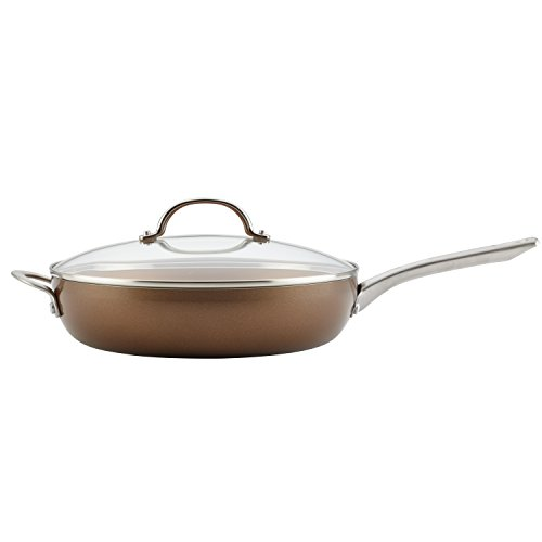 Ayesha Curry Home Collection Porcelain Enamel Nonstick Covered Deep Skillet With Helper Handle, 12-Inch, Brown Sugar