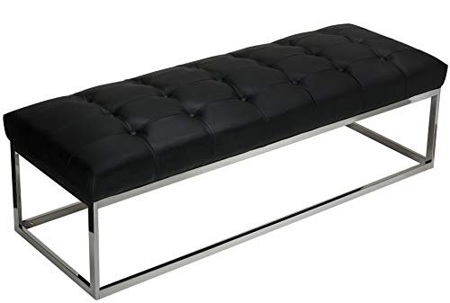 Metal Office Bench - Cortesi Home Biago Contemporary Oversized Tufted Long Bench, Black Leather Like Vinyl