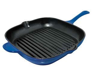 - Le Cuistot Enameled Cast Iron Grill Pan | Deep 11 Inch Square Pan, Integrated Pour Spouts and Helper Handle, Beautiful Graduated Blue Color, Oven Safe and Induction Ready