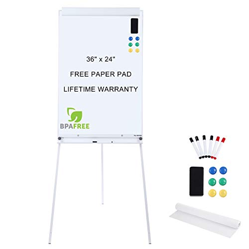 Dry Erase Board Stand (Magnetic Flip Chart Whiteboard Easel - 36 x 24 Inches Tripod Dry Erase White Board with Stand Height Adjustable by TSJ)
