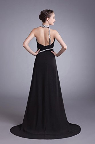 Ausschnitt Seitliche mit schwarzer BRIDE Chiffon Abendkleid GEORGE tiefen Sexy Lange Halter Vordere V Split Schwarz Design 7x4xqFIg