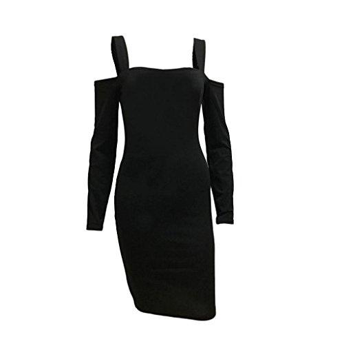 Tongshi Vestir Mujer Sólido Color Correa Cabestro Delgado Paquete Cadera Negro