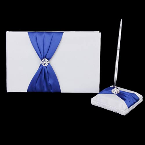 BROSCO Royal White Guest Book Pen Set with Blue Satin Wedding Reception Decor