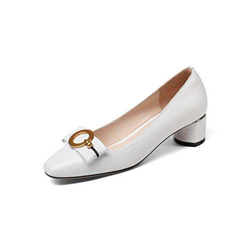 BalaMasa Womens Beaded Solid Pumps-Shoes Urethane Pumps Shoes APL11196 White