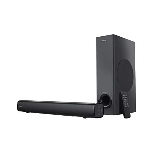 chollos oferta descuentos barato Creative Stage 2 1 Barra de sonido con subwoofer para TV ordenador y pantalla ultraancha entrada óptica entrada de TV ARC AUX mando a distancia y kit de montaje en pared