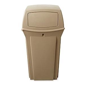 Rubbermaid Commercial Ranger Trash Can, 35 Gallon, Beige, FG843088BEIG