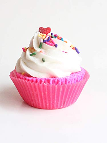 Handmade All Natural Happy Birthday Cake Cupcake Bath Bomb Fizzy Perfect Gift for Her Girls Moisturize Dry Skin and Bubble Bath Cute Pink Sweet Treat