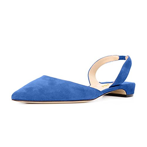 FSJ Women Comfy Slingback Ankle Strap Low Heels Shoes Pointed Toe DOrsay Pumps Size 4-15 US Blue