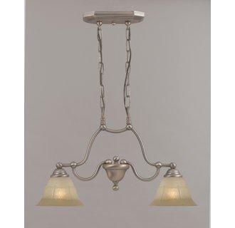 - Providence 2 Light Island-Billiard Light Glass Color: White Alabaster, Finish: Rustic Bronze