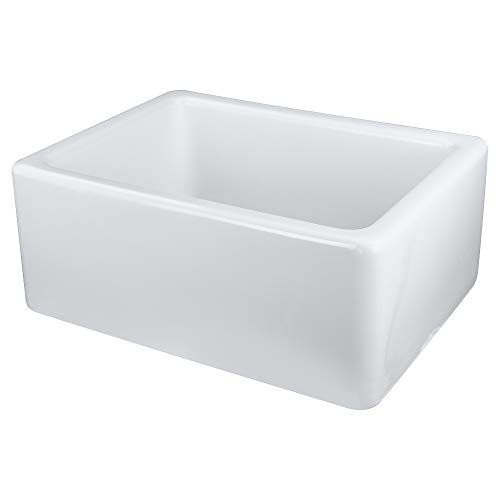 - Transolid FUSB241810 Porter Fireclay Undermount Single Bowl Farmhouse Kitchen Sink, 24