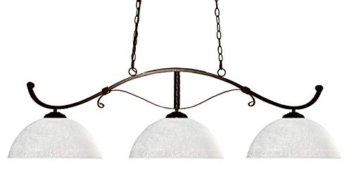 Z-Lite 148BRZ-DWL14 Howler Three Light Billiard, Steel Frame, Bronze Finish and White Linen Shade of Glass -