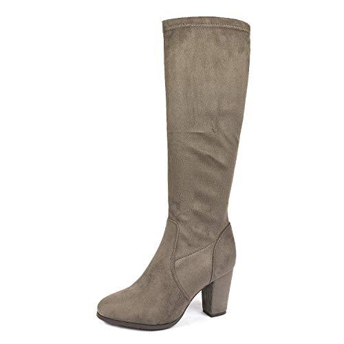 DREAM PAIRS Women's Midleg Khaki Chunky Heel Knee High Boots Size 5 M US