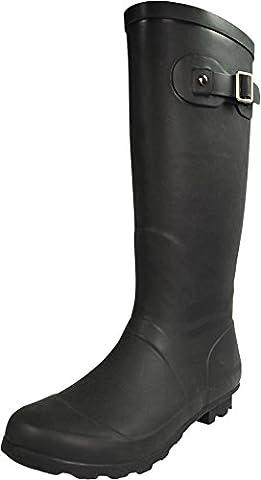 NORTY - Womens Hurricane Wellie Solid Gloss Hi-Calf Rain Boot, Matte Black 39969-8B(M)US - Wellies