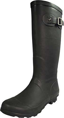NORTY - Womens Hurricane Wellie Solid Gloss Hi-Calf Rain Boot, Matte Black 39969-9B(M) US