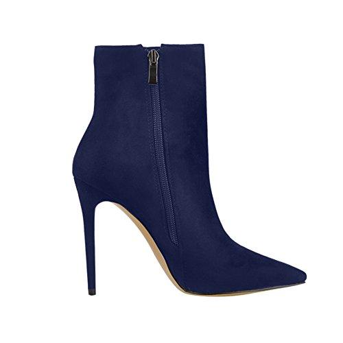 Onlymaker Puntiagudas Botas Con Punta De Tobillo Para El Vestido De Las Mujeres Cremallera Lateral Zapatos De Tacones Altos Botines De Gamuza Azul Descuentos baratos en línea DabzP0a4np