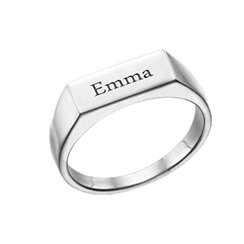 Price comparison product image FACOCO Men's and Women's 925 Sterling Silver Engraved Seal Ring Custom Name Ring Gift(Silver-Plated-Base 6)