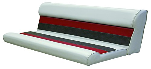 Wise 55-Inch Cushion Only Pontoon Bench Seat, Gray/Red/Charcoal