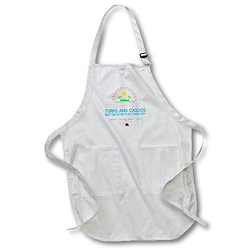 (3dRose Alexis Design - Caribbean Beaches - Long Bay Beach, Turks and Caicos, Caribbean Paradise Text and Image - Full Length Apron with Pockets 22w x 30l (apr_304295_1))