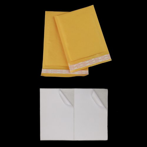 200 Pcs #000 4x8 Kraft Bubble Mailers Padded Mailing Envelope Shipping Bags + 100 8.5'x 5.5' Half-Sheet Shipping Label PayPal Ebay UPS FEDEX 5126 8126 AVERY