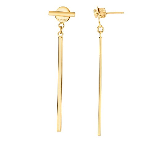 Aleksa Ladies 14K Yellow Gold Shiny Round Tube Long Bar Drop Earrings with Push Back Clasp