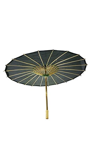 (32 Inch Paper Like Parasol Umbrella - For Weddings, Bridal Showers, and Photo Shoots (Black))