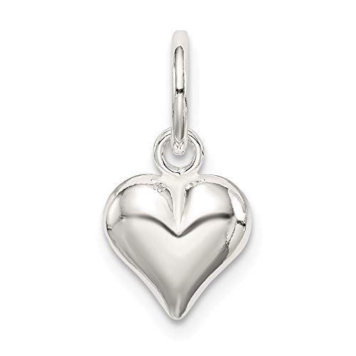 Mireval Sterling Silver Puff Heart Charm (18 x 10mm)