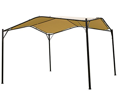 (Mefo garden 12 x 12 ft Outdoor Patio Swan Gazebo Canopy for Backyard, Iron, 250gsm Polyester Canopy, Beige)