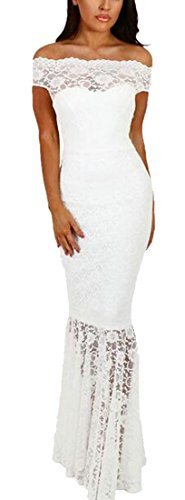 Dress Maxi Formal Shoulder Fishtail Lace Evening Women White Off Vintage Shear Jaycargogo Dress 6SqERn