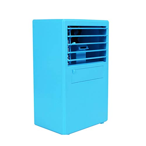 - Mini Air Cooler Silent Portable air Conditioning Fan humidifier Room Desktop Bedside Table (Color : Blue)