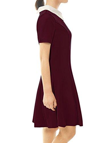 Contrast Collar Women's Allegra Dress Doll Knee K Red Short Sleeves Above Flare qRAwF