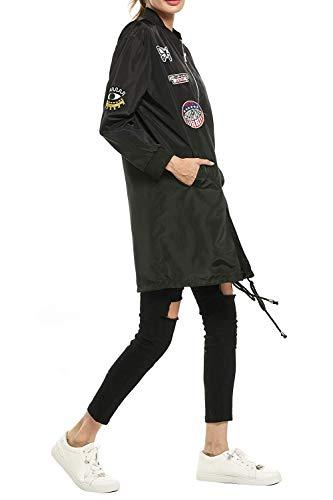 Estilo Pilot Bomber Schwarz Con Collo Outerwear Lunga Donna Coreana Casual Distintivo Especial Manica Sciolto Cappotto Primaverile Autunno Eleganti Giacca pqw7da7