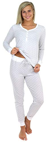 Ribbed 3/4 Henley Sleeve Sweater - Sleepyheads Women's Knit Long Sleeve Henley and Pant Pajama Set-Sweet Dreams Grey (SH1150-4090-XL)