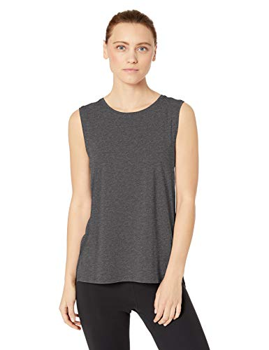 Amazon Brand - Core 10 Women's Soft Pima Cotton Stretch Full Coverage Yoga Sleeveless Tank, Dark Heather Grey XL (16)