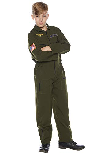 - Underwraps Kid's Children's Air Force Flight Suit Costume - Khaki Childrens Costume, Green, Medium