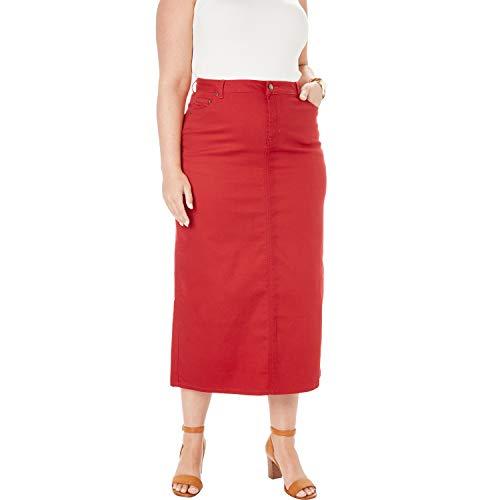 Jessica London Women's Plus Size True Fit Denim Skirt - Pepper Red, 20 W