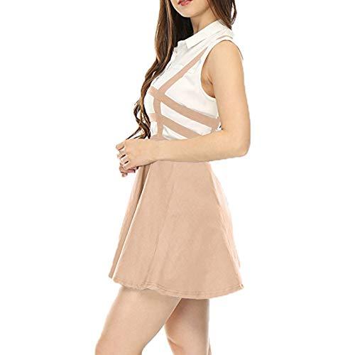 Senza Pullover Pulsante Tops Elegante Il Donne Casuale Maglietta Gonna In Sexy 5all Unita Con Tinta Rosa A Spalline Maniche Strap Maglia Dress Abito KJ31cTulF